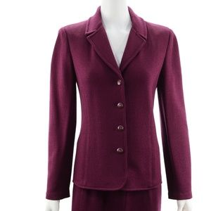 ST. JOHN COLLECTION BURGUNDY KNIT BLAZER & SKIRT 8